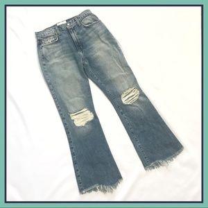 Current/Elliott High Waist Kick Jeans Distressed